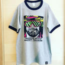 """MACHO MAN"" RANDY SAVAGE FACE リンガー tee-shirt (gray×navy)"