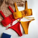 TB-127   Mustard&Red Rib Lace Up Bikini