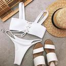 TB-128   White&Black Rib Lace Up Bikini
