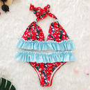 TB-016  Red×Blue Romantic Flower Halter Neck