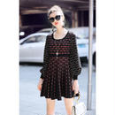 TA-023 Geometric Line Lantern Sleeve Knit Dress