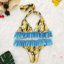 TB-015  Yellow×Blue Romantic Flower Halter Neck