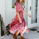 TA-008 Boho Red Flutter Dress