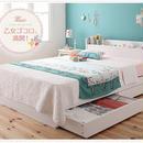 棚・コンセント付き収納ベッド【Fleur】フルール【ボンネルコイルマットレス:ハード付き】シングル