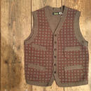 Dapper's / Classic Woolen Plaid Waistcoat / KHAKI Heather-BORDEAUX