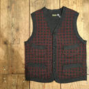 Dapper's / Classic Woolen Plaid Waistcoat / CHARCOAL Heather-BORDEAUX