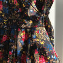 no.6 store / flower print silk dress /  used clothing