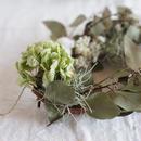 増田由希子さんのリース「冬の庭」ユーカリポプラスと白い花のリース