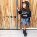 (即納♡)(kids☆)ブラックギンガムチェック巻スカート風ワンピース