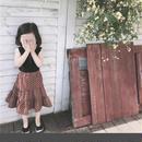 (即納♡)(kids☆)ドット柄ブラウンスカート