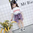 (即納♡)(kids☆)赤ロゴTシャツ&チェックスカート風パンツSET