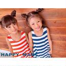(即納♡)(kids☆)ボーダーロングマキシワンピ -ス(ブルー)