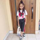 (新入荷☆)ガールプリントTシャツ&ラインジャージSET