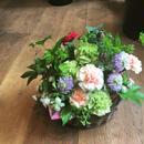 《母の日ギフト》ピンクのカーネーションバスケットアレンジメント(生花)