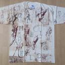 ミケランジェロ デッサン スケッチ 総柄 Tシャツ L Michelangelo 彫刻 絵画 マルチ ダビデ像 ピエタ アダムの創造 美術館 芸術ART現代美術【deg】