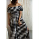 Gingham Off Shoulder All In One(ds116)