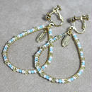 beads hoop earrig(white×aqua)