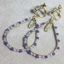 beads hoop earring(purple×blue)