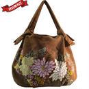 刺繍 ミニ バッグ ブラウン 刺繍 フラワー 菊 かわいい 花柄 ベトナム雑貨 v1228