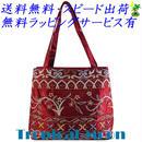 ビーズ刺繍 バッグ レディース ボルドー シルク ハンドメイド v0863