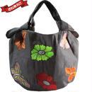 刺繍 ミニ バッグ ダークグレー 刺繍 フラワー バタフライ 花柄 ベトナム雑貨 v1160