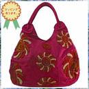 刺繍 トート バッグ チェリーレッド フラワー ハンドメイド ベトナム 雑貨 v1099