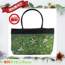 刺繍 バッグ グリーン 花柄 ベトナム製 ハンドメイド シルク v1053
