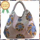 刺繍 トート バッグ ライトブラウングレー フラワー ハンドメイド ベトナム 雑貨 v1098