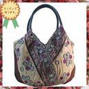 パッチワーク トート バッグ グレー×ベージュ 水玉 刺繍  ハンドメイド ベトナム 雑貨 v1011