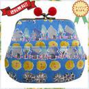 がま口財布 ブルー コットン かわいい 日本製 送料無料 8976
