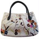 刺繍 バッグ アイボリー ミニ レディース フラワー ハンドメイド v0843