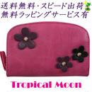 コンパクト 財布 二つ折り 花飾り レディース ピンク 8818