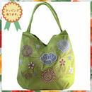 刺繍 トート バッグ イエローグリーン フラワー ハンドメイド ベトナム 雑貨 v1095