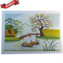 刺繍絵 アート ハンドメイド 芸術 作品 ベトナム 雑貨 橋のある風景 vi0021