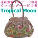 刺繍 バッグ ライトブラウン 花 シルク ベトナム雑貨 フレンチナッツ v0983