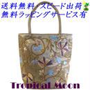 刺繍バッグ レディース シャンパンベージュ シルク 花 ベトナム 雑貨 ハンドメイド v0867