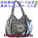 刺繍 バッグ レディース シルバーグレー フラワー シルク ハンドメイド v0926