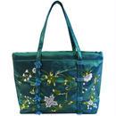 ビーズ 刺繍 ミニ バッグ エメラルドグリーン シルク フラワー レディース v0872