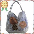 刺繍 トート バッグ ライトグレー フラワー ハンドメイド ベトナム 雑貨 v1091