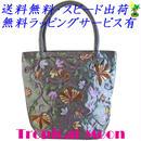 刺繍バッグ レディース シルバーグレー シルク 花 ベトナム 雑貨 ハンドメイド v0864