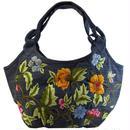 刺繍 バッグ レディース ハンドメイド フラワー ブルーグレー v0837