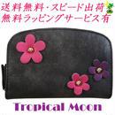 コンパクト 財布 二つ折り 花飾り レディース ブラック 8817