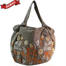 刺繍 ミニ バッグ グレーブラウン 刺繍 フラワー かわいい 花柄 ベトナム雑貨 v1293
