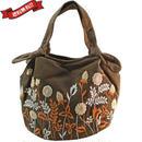 刺繍 ミニ バッグ ダークブラウン 刺繍 フラワー かわいい 花柄 ベトナム雑貨 v1210
