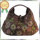 刺繍 バッグ ダーク ブラウン ハンドメイド フラワー ベトナム 雑貨 v0995