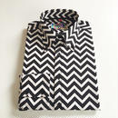 MADCAP ジグザグ ボタンダウンシャツ〈ブラック&ホワイト〉