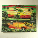 ジャマイカ ペイント A.Stephenson 夕日&湖(ジャマイカ絵画)