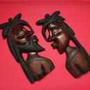 ラスタマン&ラスタウーマン  ジャマイカ 木彫り壁掛け(セット)