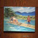 ジャマイカ ペイント A.Stephenson バンブーボート川下り(ジャマイカ絵画)