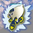 ペンギンブローチon自転車 リフレクターブローチ
